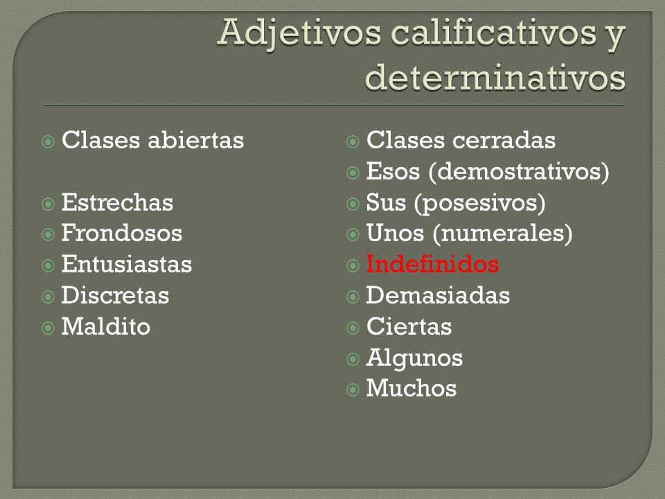 Adjetivos calificativos y determinativos