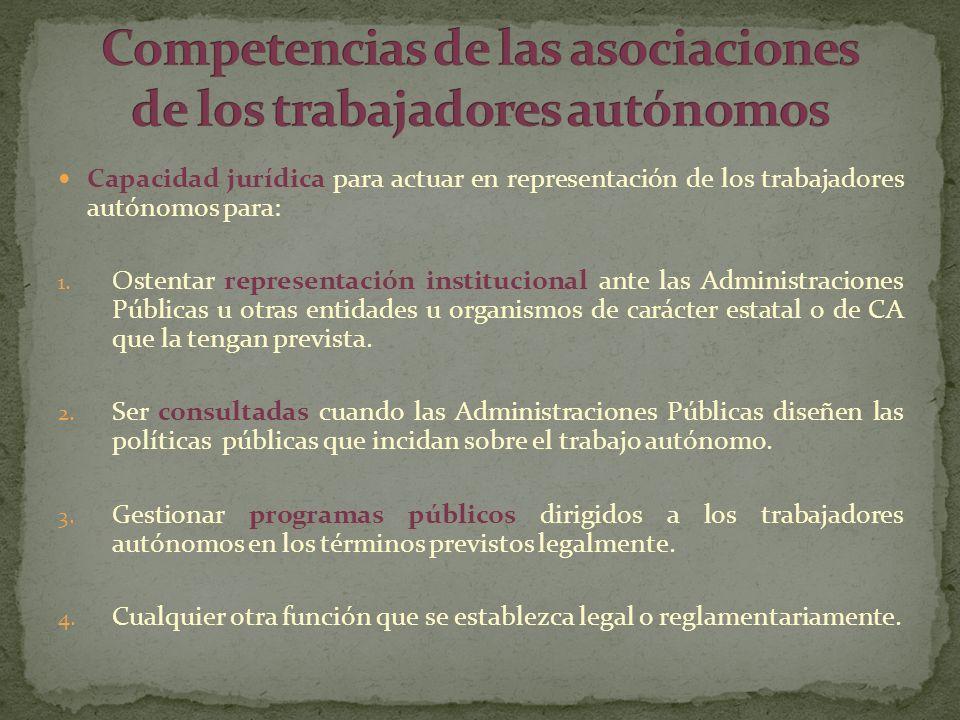 Competencias de las asociaciones de los trabajadores autónomos