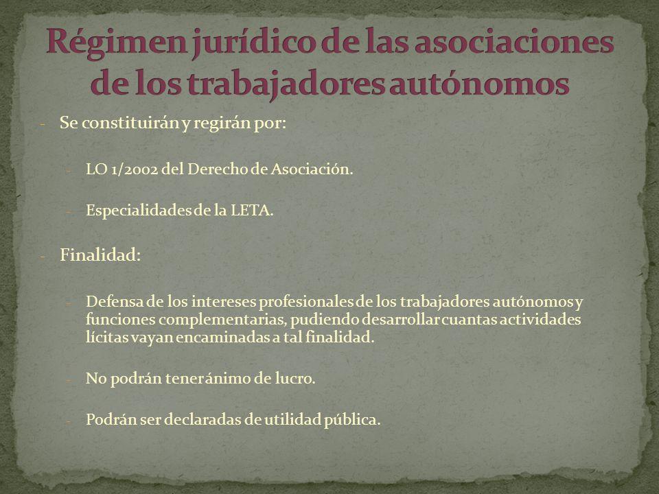 Régimen jurídico de las asociaciones de los trabajadores autónomos