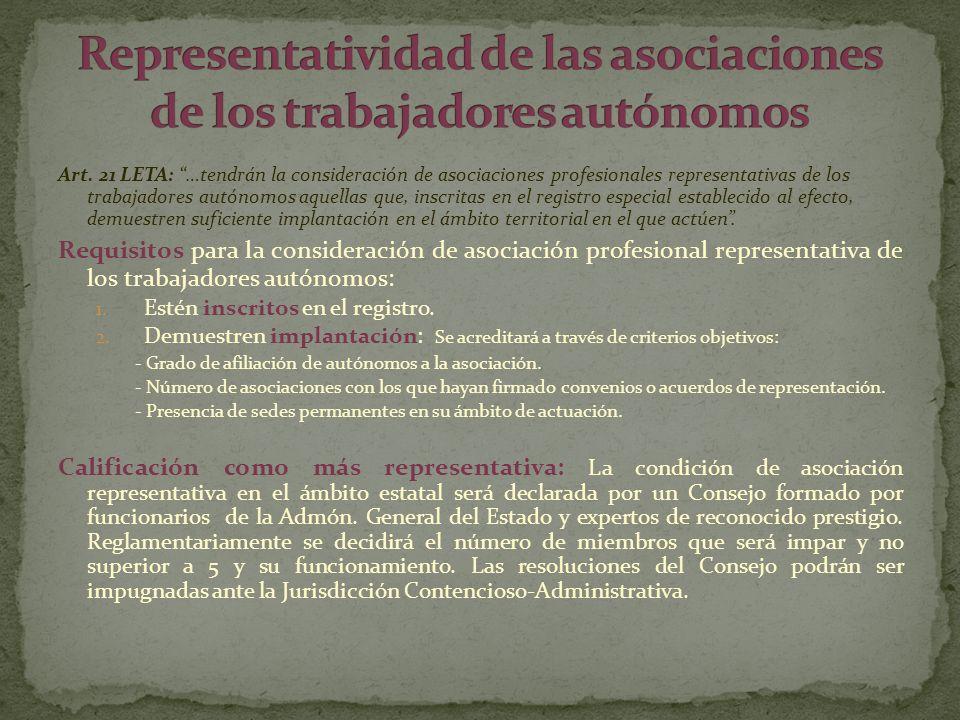 Representatividad de las asociaciones de los trabajadores autónomos