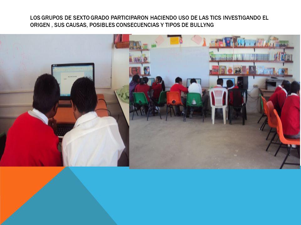 LOS GRUPOS DE SEXTO GRADO PARTICIPARON HACIENDO USO DE LAS TICS INVESTIGANDO EL ORIGEN , SUS CAUSAS, POSIBLES CONSECUENCIAS Y TIPOS DE BULLYNG