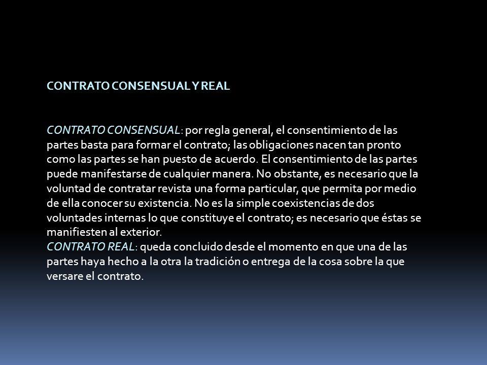 CONTRATO CONSENSUAL Y REAL