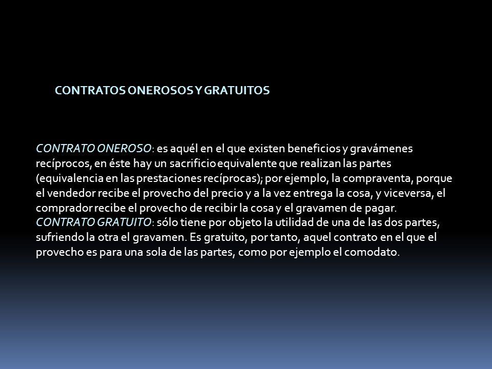 CONTRATOS ONEROSOS Y GRATUITOS