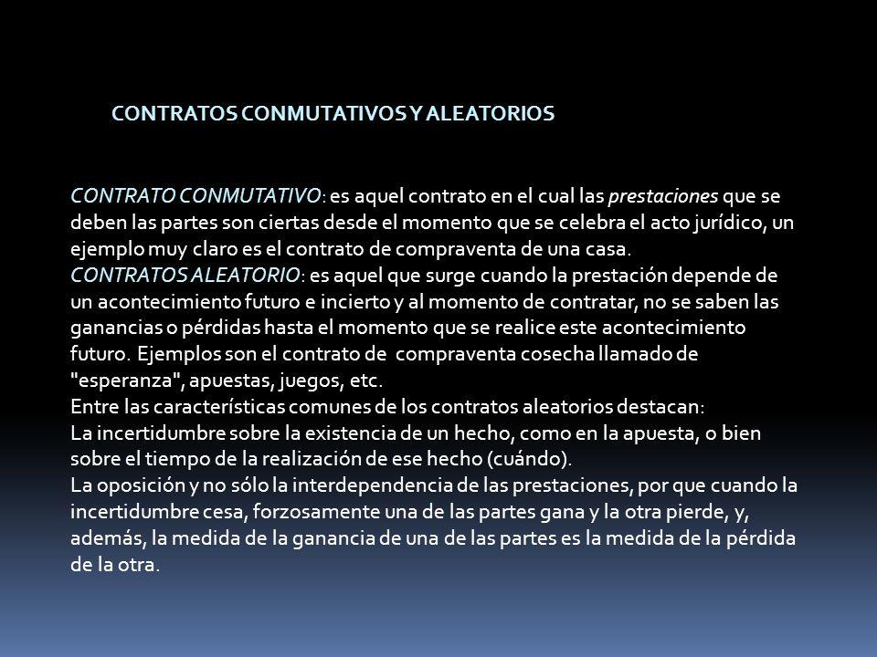 CONTRATOS CONMUTATIVOS Y ALEATORIOS