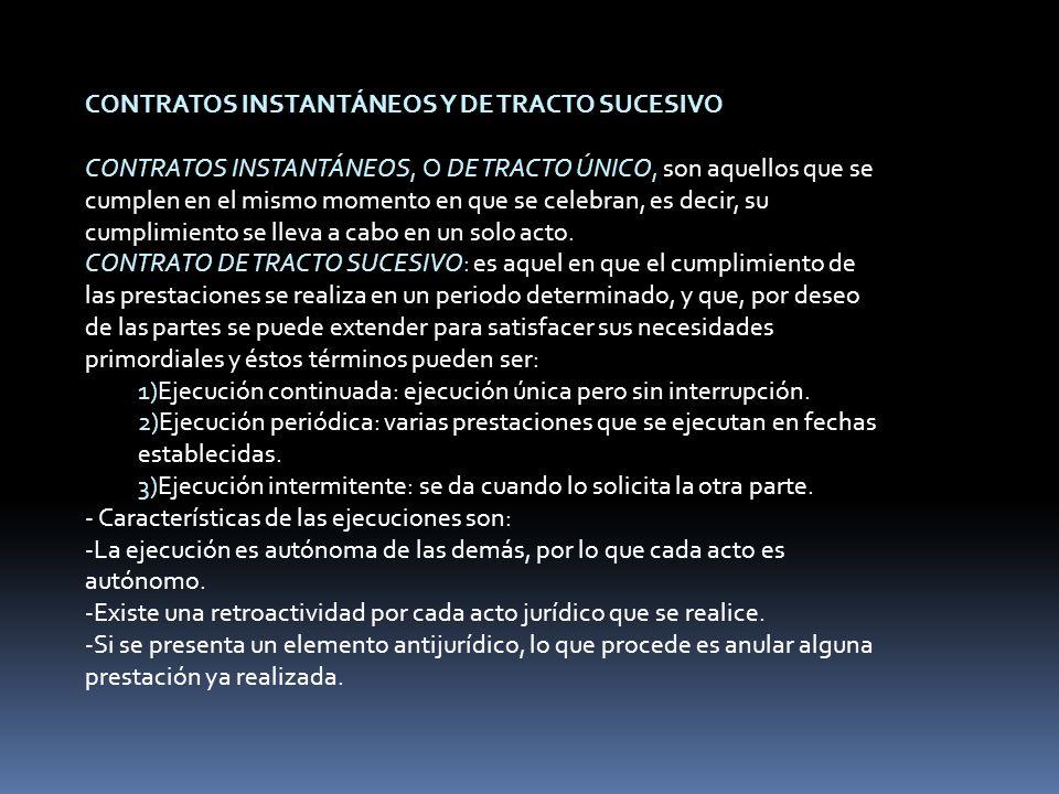 CONTRATOS INSTANTÁNEOS Y DE TRACTO SUCESIVO