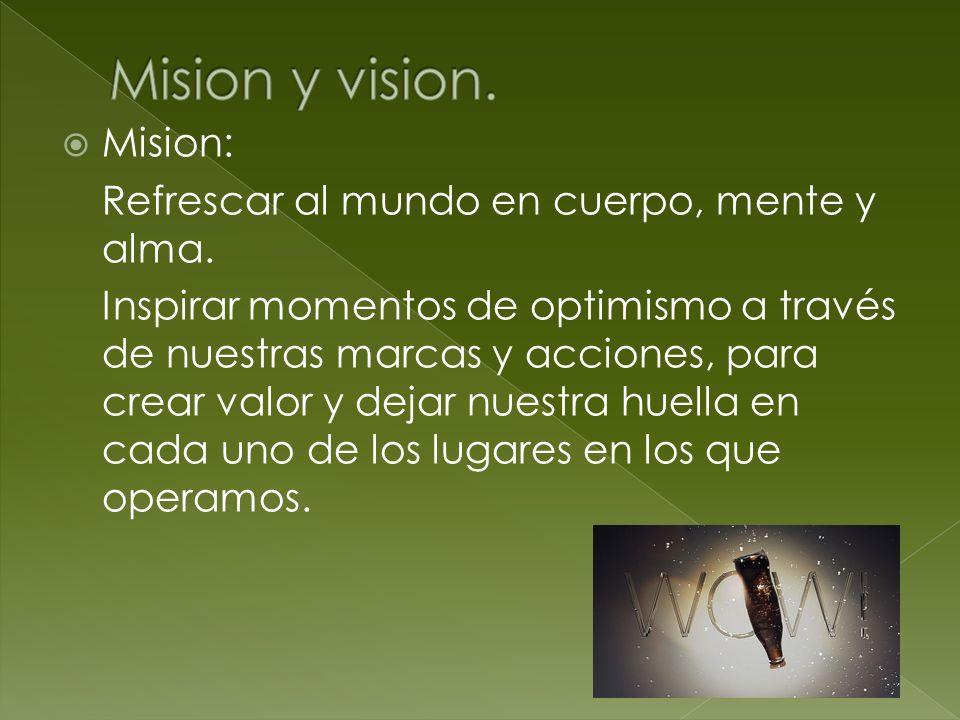 Mision y vision. Mision: Refrescar al mundo en cuerpo, mente y alma.