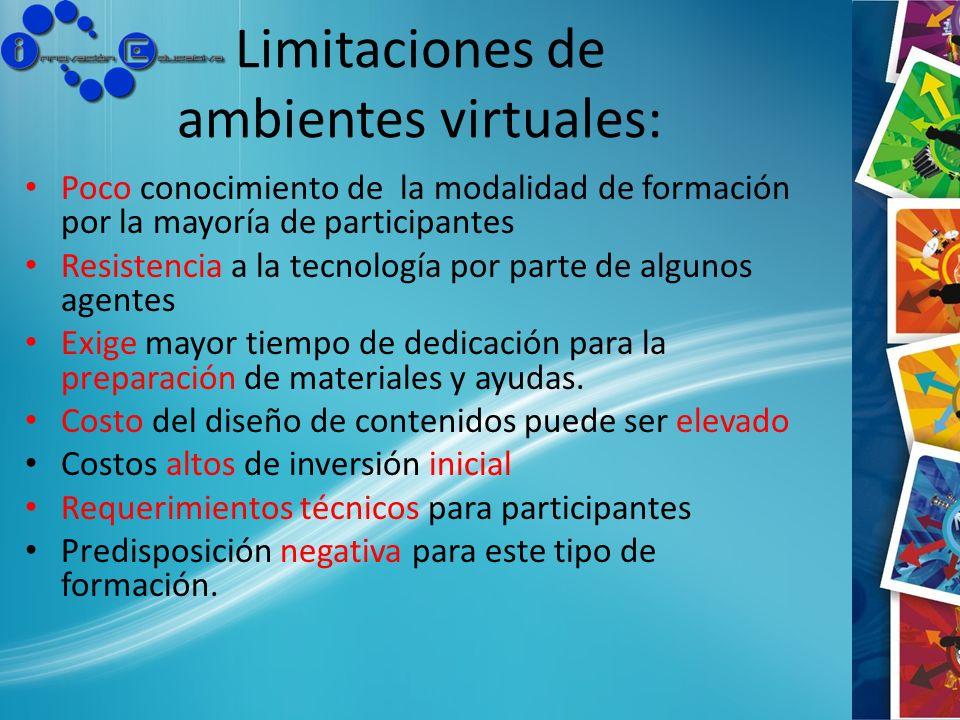 Limitaciones de ambientes virtuales: