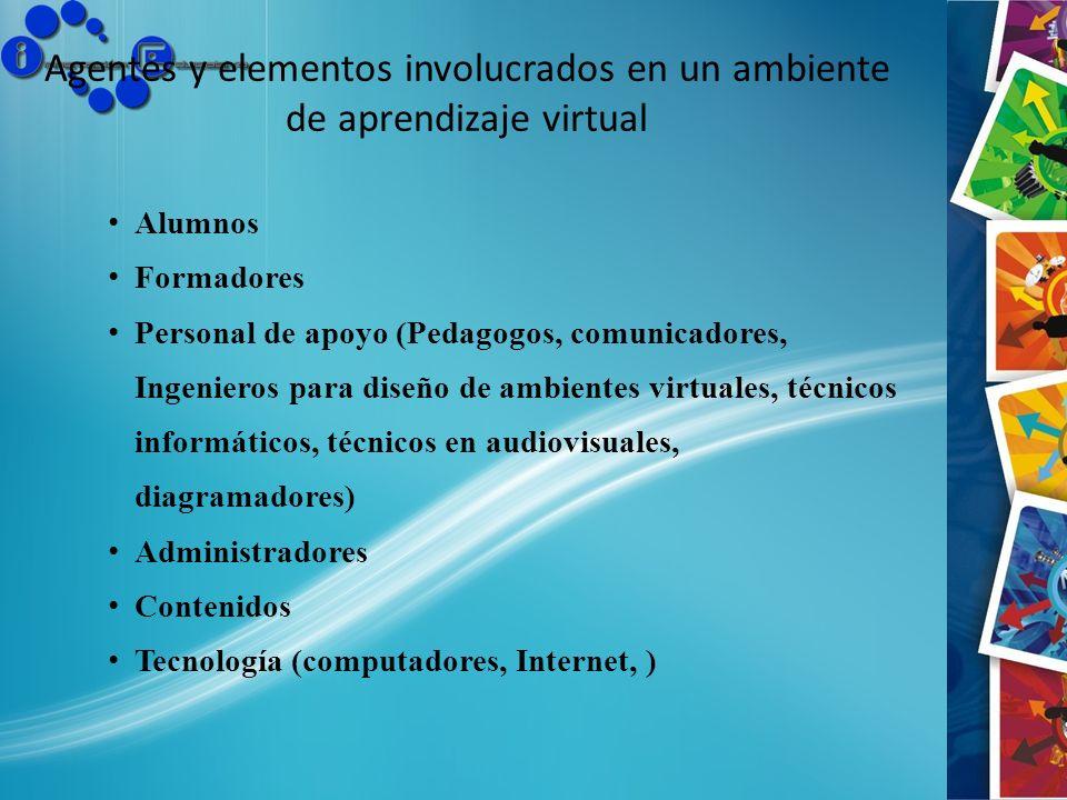 Agentes y elementos involucrados en un ambiente de aprendizaje virtual