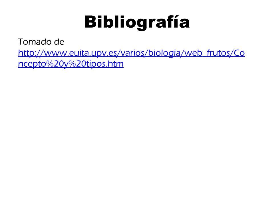 Bibliografía Tomado de http://www.euita.upv.es/varios/biologia/web_frutos/Concepto%20y%20tipos.htm
