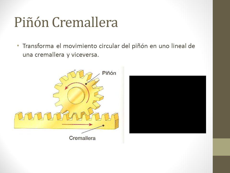 Piñón CremalleraTransforma el movimiento circular del piñón en uno lineal de una cremallera y viceversa.