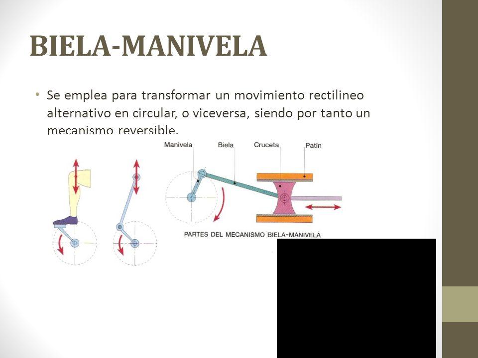 BIELA-MANIVELA Se emplea para transformar un movimiento rectilineo alternativo en circular, o viceversa, siendo por tanto un mecanismo reversible.