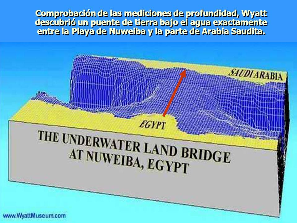Comprobación de las mediciones de profundidad, Wyatt descubrió un puente de tierra bajo el agua exactamente entre la Playa de Nuweiba y la parte de Arabia Saudita.