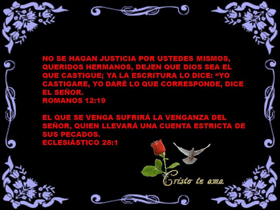 NO SE HAGAN JUSTICIA POR USTEDES MISMOS, QUERIDOS HERMANOS, DEJEN QUE DIOS SEA EL QUE CASTIGUE; YA LA ESCRITURA LO DICE: YO CASTIGARE, YO DARÉ LO QUE CORRESPONDE, DICE EL SEÑOR.