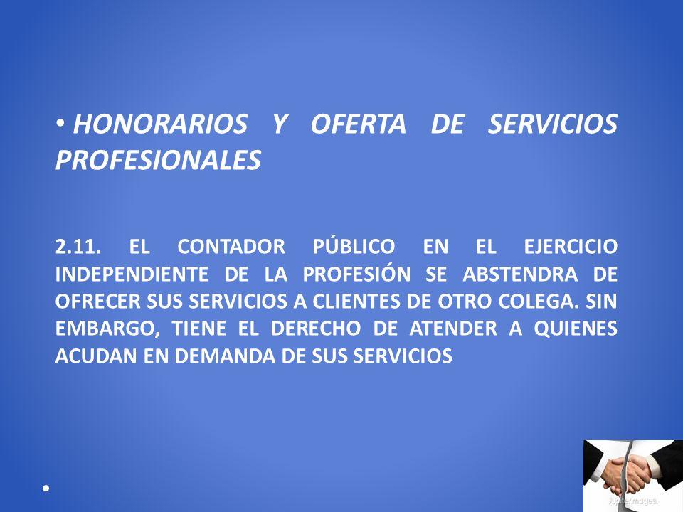 HONORARIOS Y OFERTA DE SERVICIOS PROFESIONALES