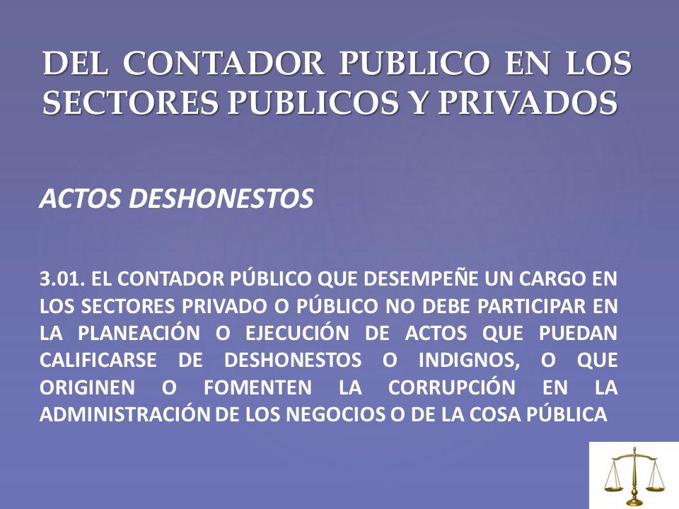 DEL CONTADOR PUBLICO EN LOS SECTORES PUBLICOS Y PRIVADOS