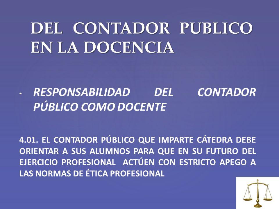 DEL CONTADOR PUBLICO EN LA DOCENCIA