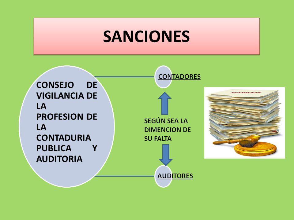 SANCIONES CONSEJO DE VIGILANCIA DE LA PROFESION DE LA CONTADURIA PUBLICA Y AUDITORIA. CONTADORES.