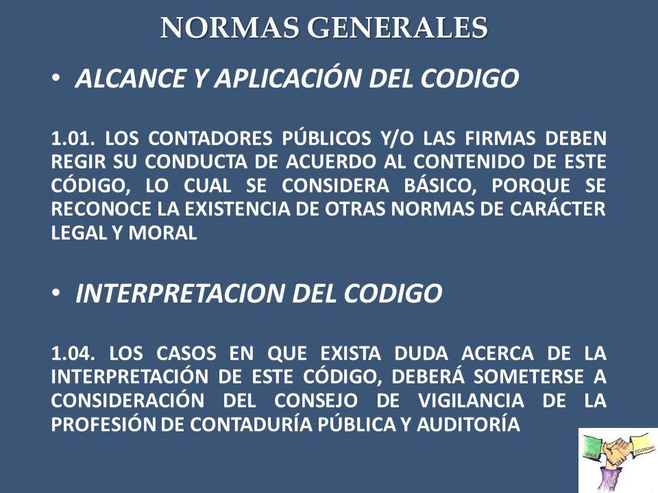 ALCANCE Y APLICACIÓN DEL CODIGO