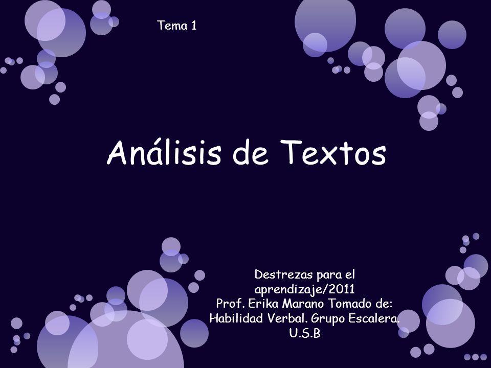 Análisis de Textos Tema 1 Destrezas para el aprendizaje/2011