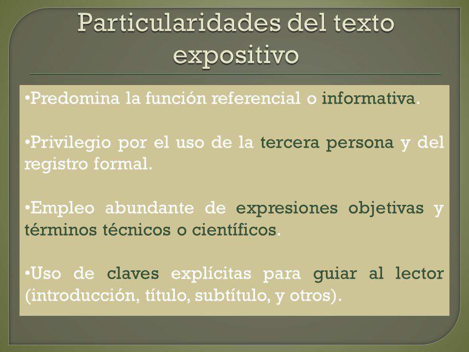 Particularidades del texto expositivo