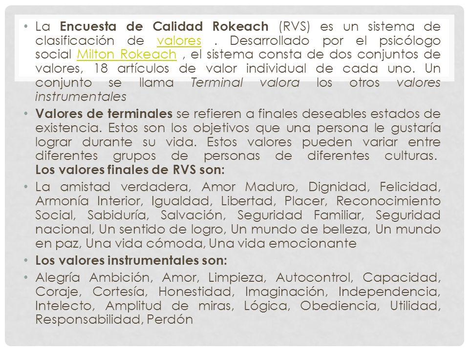 La Encuesta de Calidad Rokeach (RVS) es un sistema de clasificación de valores . Desarrollado por el psicólogo social Milton Rokeach , el sistema consta de dos conjuntos de valores, 18 artículos de valor individual de cada uno. Un conjunto se llama Terminal valora los otros valores instrumentales