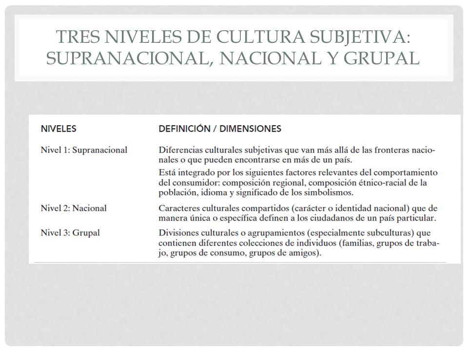 Tres niveles de cultura subjetiva: supranacional, nacional y grupal
