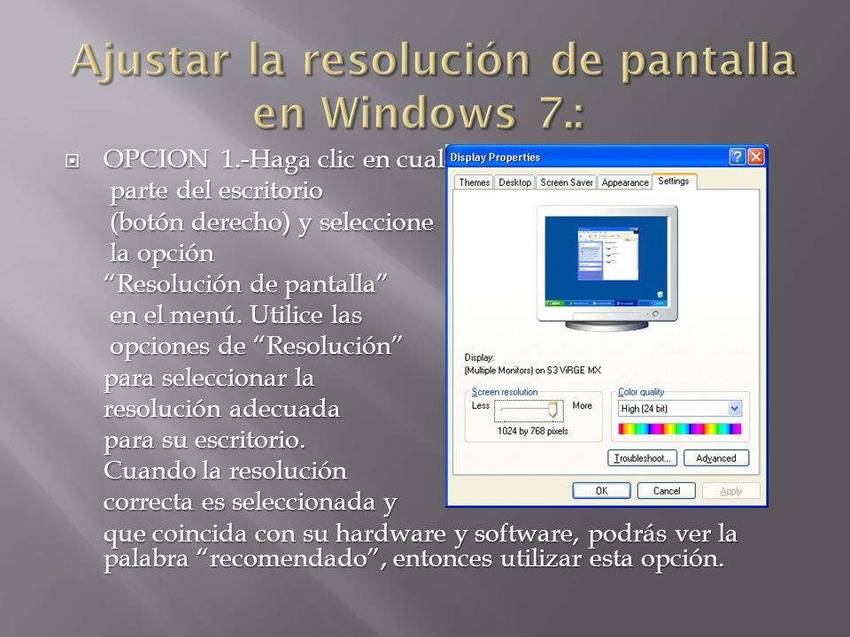 Ajustar la resolución de pantalla en Windows 7.: