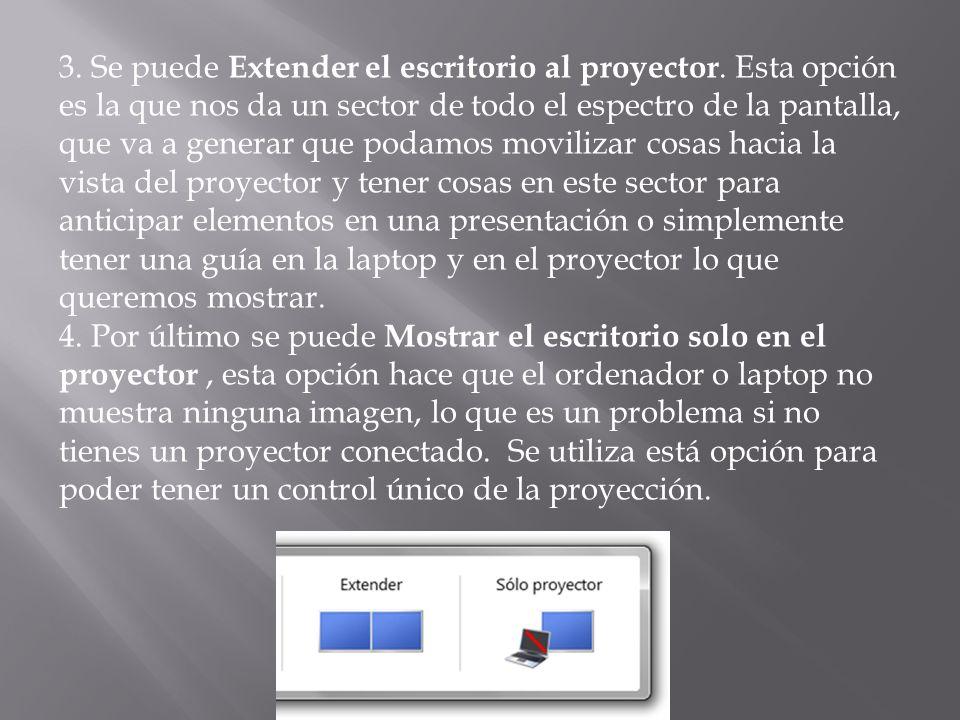 3. Se puede Extender el escritorio al proyector
