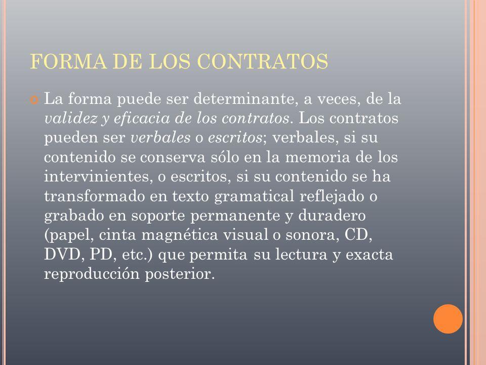 FORMA DE LOS CONTRATOS