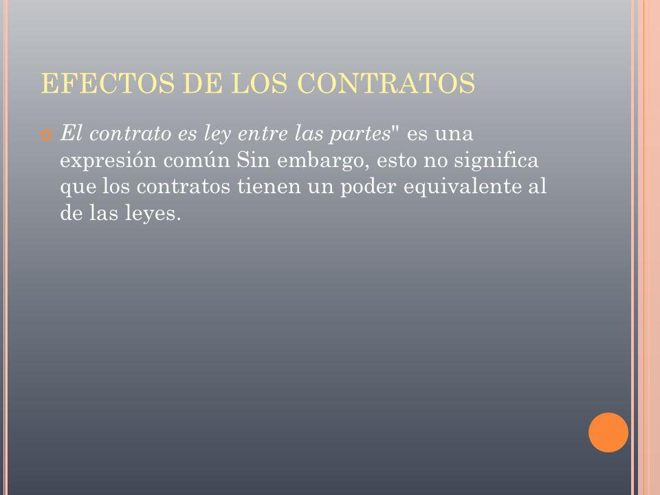 EFECTOS DE LOS CONTRATOS