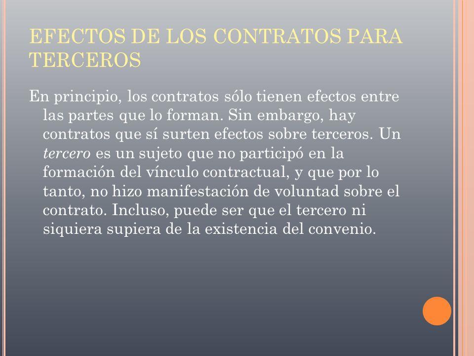 EFECTOS DE LOS CONTRATOS PARA TERCEROS