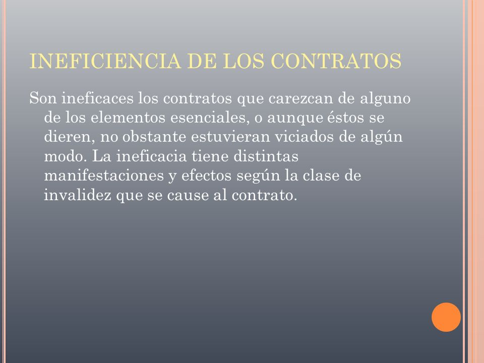 INEFICIENCIA DE LOS CONTRATOS