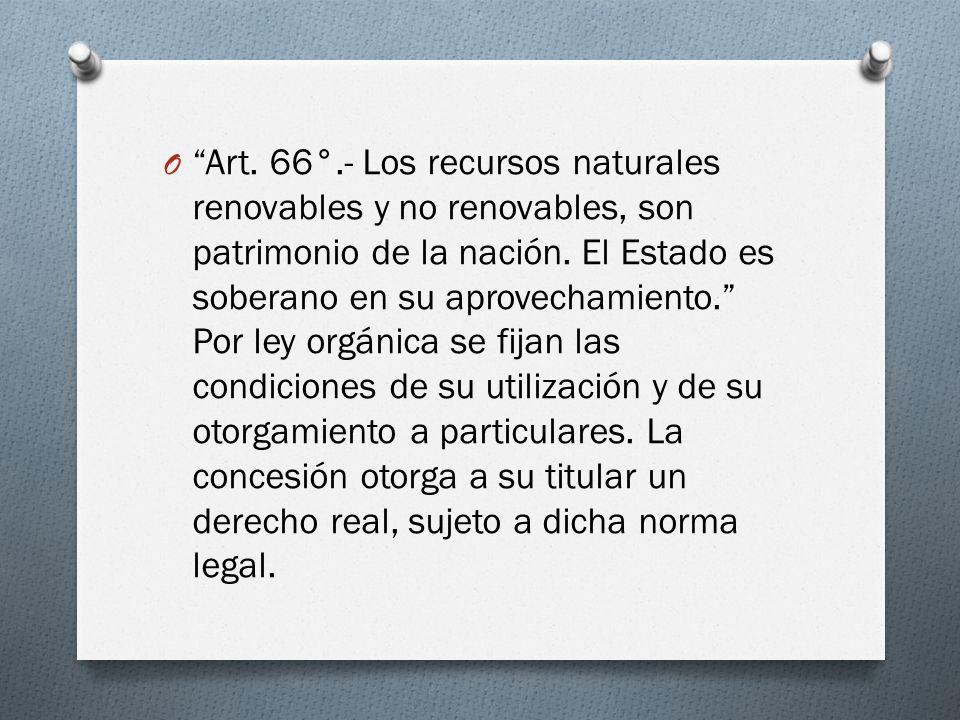 Art. 66°.- Los recursos naturales renovables y no renovables, son patrimonio de la nación.