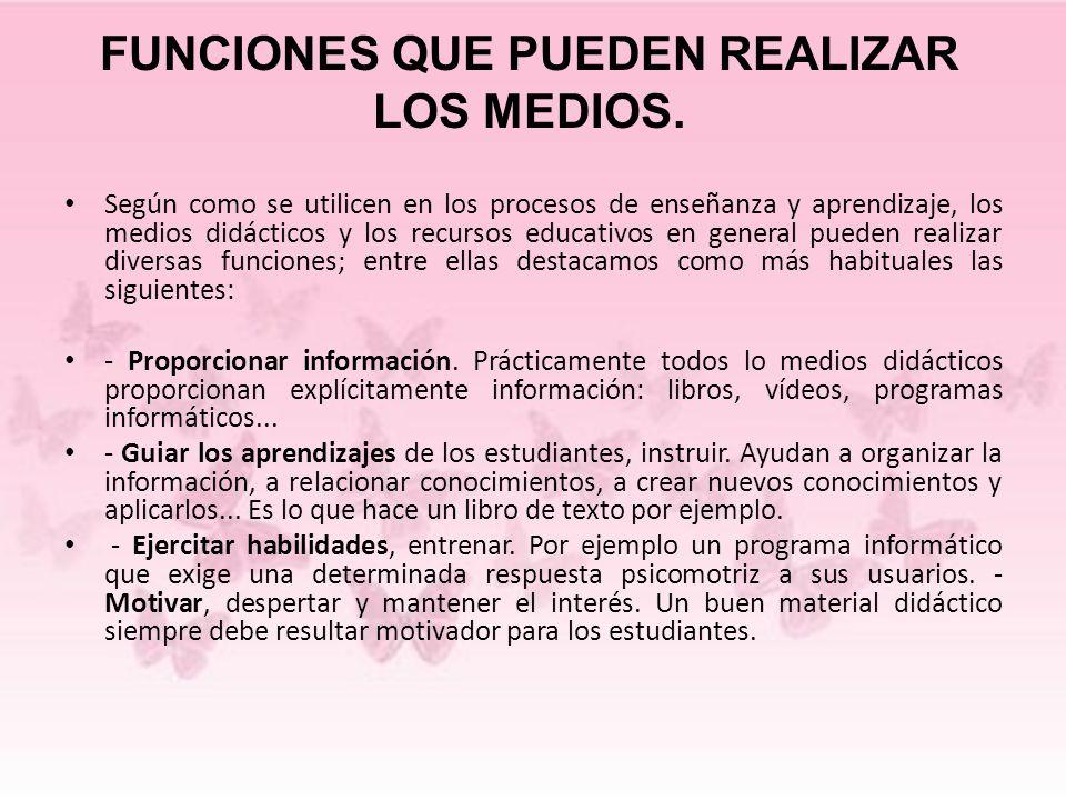 FUNCIONES QUE PUEDEN REALIZAR LOS MEDIOS.
