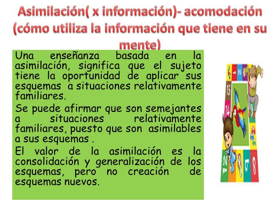 Asimilación( x información)- acomodación (cómo utiliza la información que tiene en su mente)