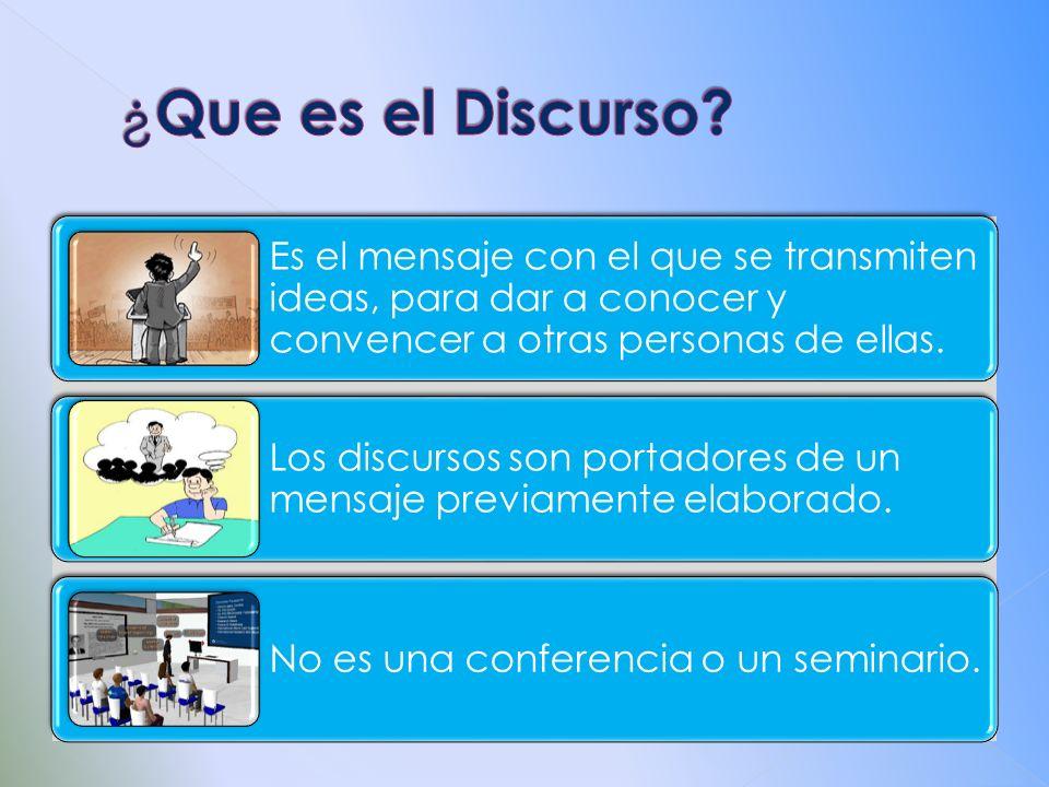 ¿Que es el Discurso Es el mensaje con el que se transmiten ideas, para dar a conocer y convencer a otras personas de ellas.