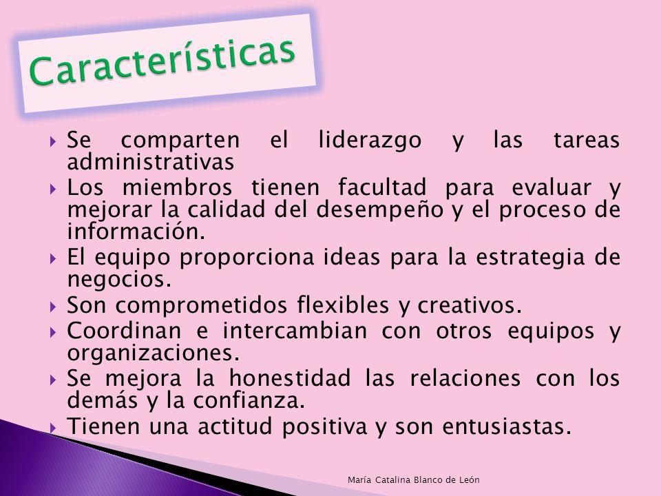 Características Se comparten el liderazgo y las tareas administrativas