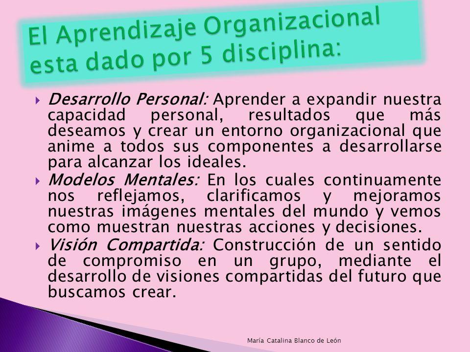 El Aprendizaje Organizacional esta dado por 5 disciplina: