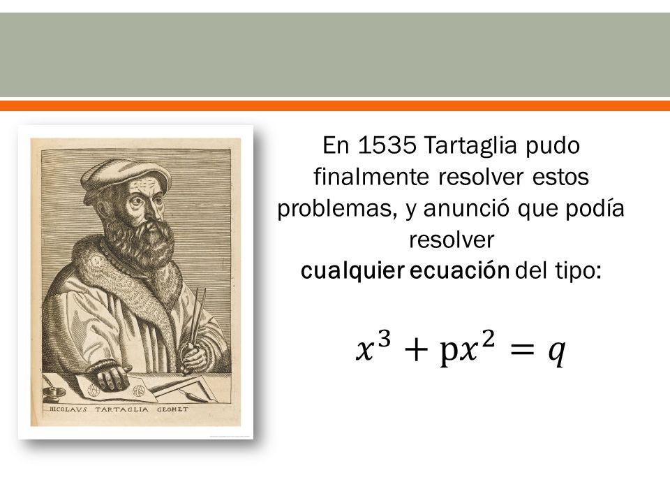 En 1535 Tartaglia pudo finalmente resolver estos problemas, y anunció que podía resolver cualquier ecuación del tipo: