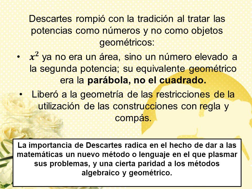 Descartes rompió con la tradición al tratar las potencias como números y no como objetos geométricos: