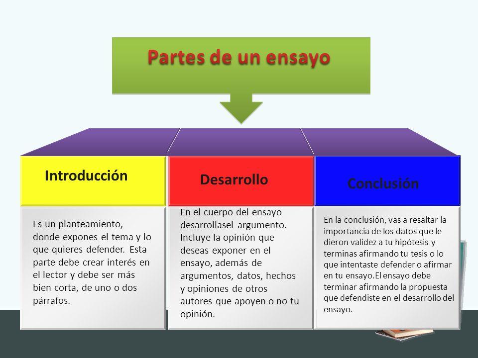 Partes de un ensayo Introducción Desarrollo Conclusión