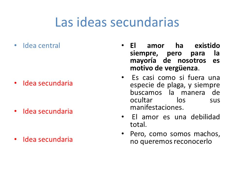Las ideas secundarias Idea central Idea secundaria