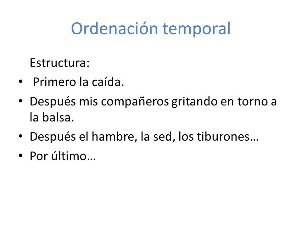 Ordenación temporal Estructura: Primero la caída.