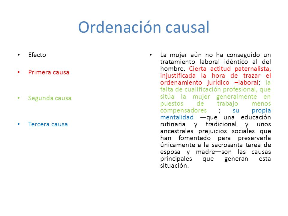 Ordenación causal Efecto Primera causa Segunda causa Tercera causa