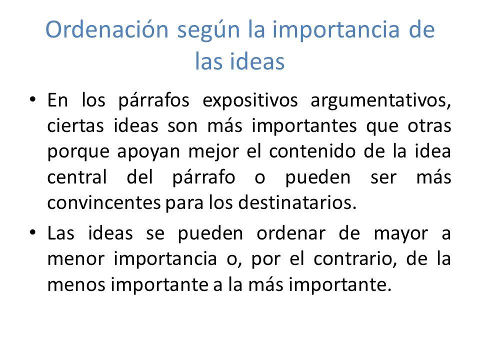 Ordenación según la importancia de las ideas