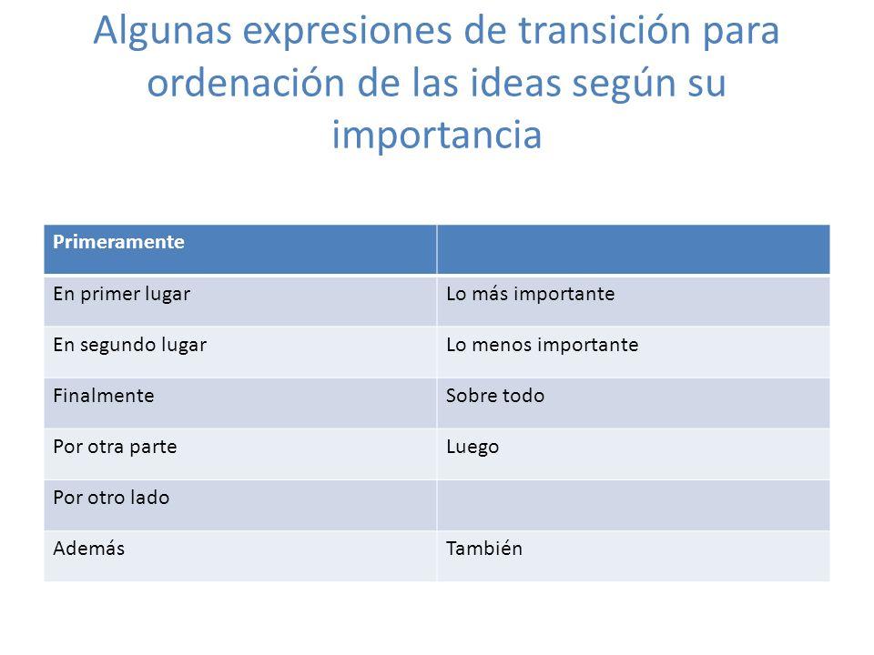 Algunas expresiones de transición para ordenación de las ideas según su importancia