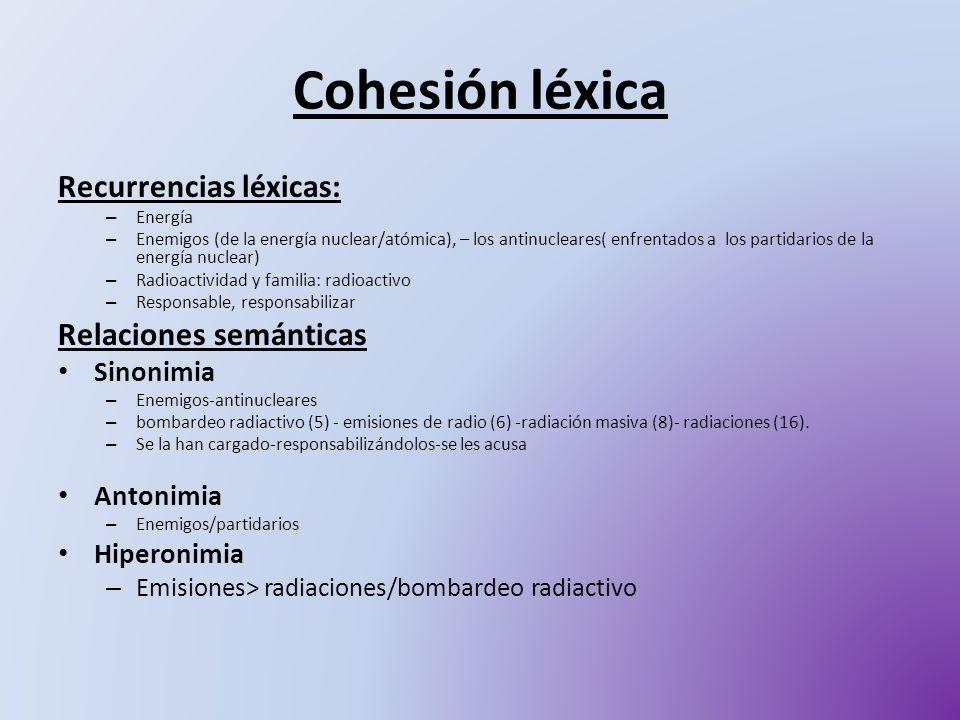 Cohesión léxica Recurrencias léxicas: Relaciones semánticas Sinonimia