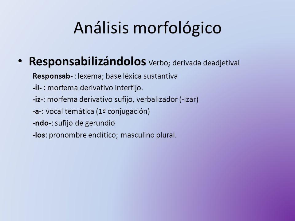 Análisis morfológico Responsabilizándolos Verbo; derivada deadjetival