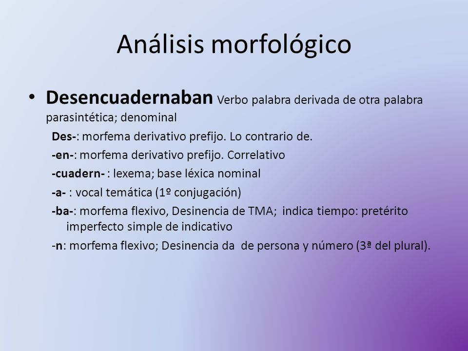 Análisis morfológico Desencuadernaban Verbo palabra derivada de otra palabra parasintética; denominal.