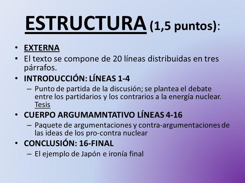 ESTRUCTURA (1,5 puntos): EXTERNA